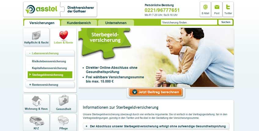 Webseite der Asstel Sterbeversicherung